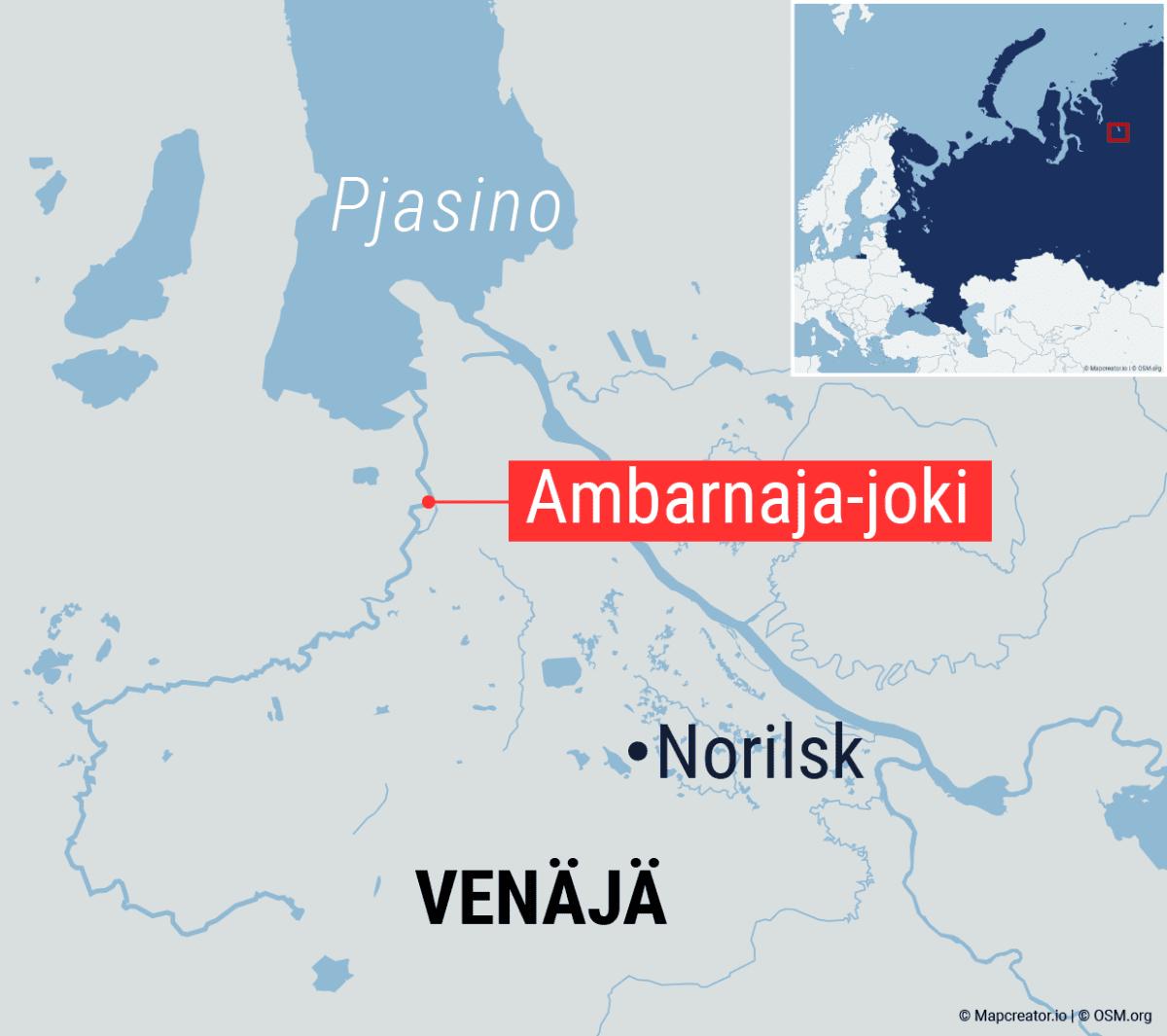 Kartta Ambarnaja-joen sijainnista Venäjällä.