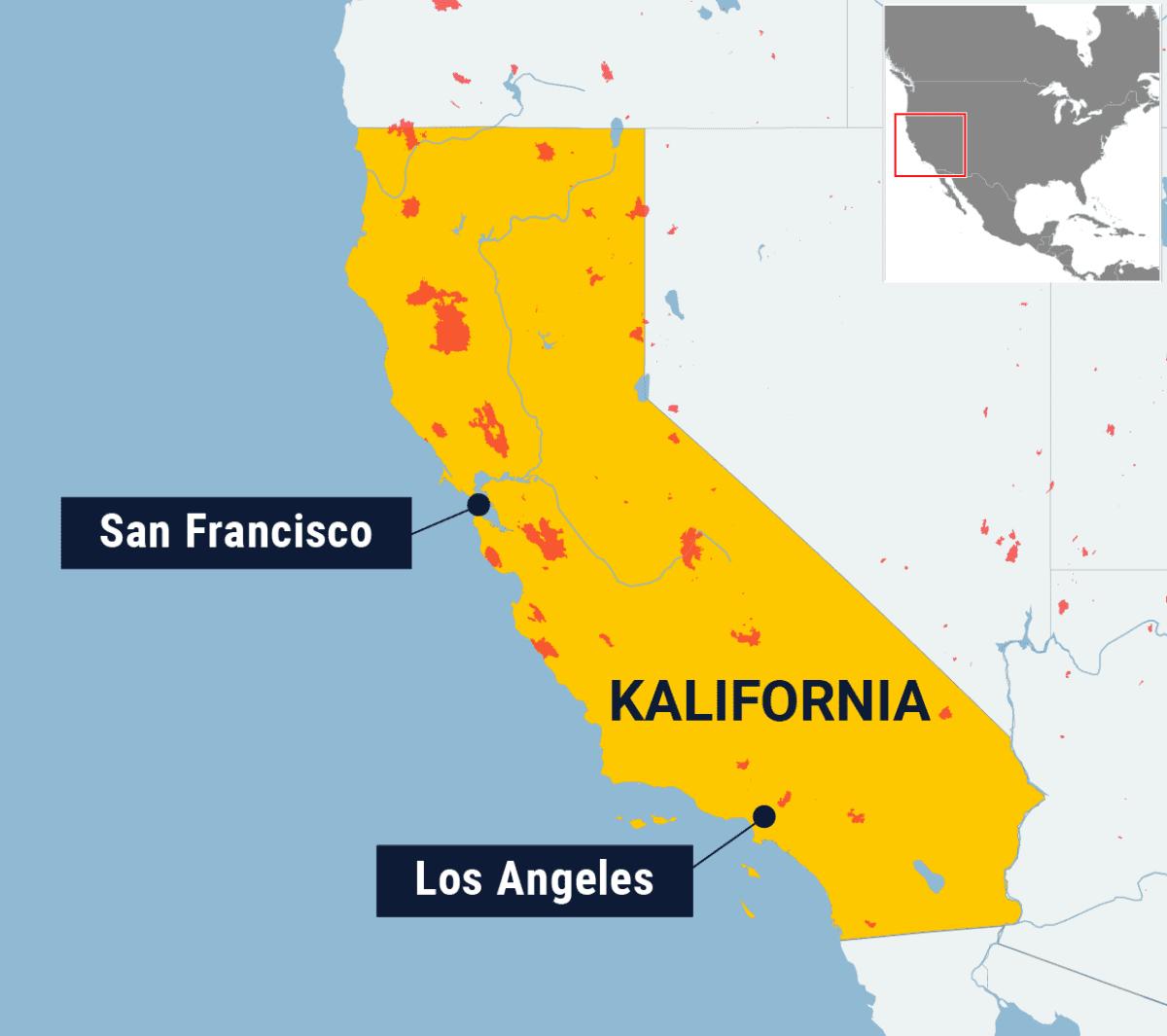 Kartta Kalifornian maastopaloalueista.