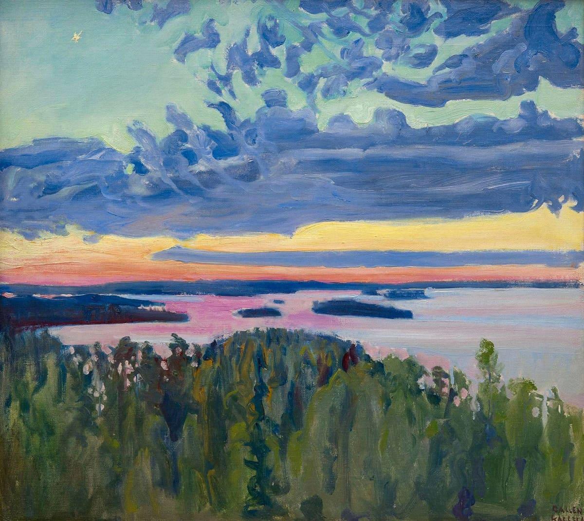Akseli Gallen-Kallelan maalaus Järvimaisema auringonlaskun aikaan.