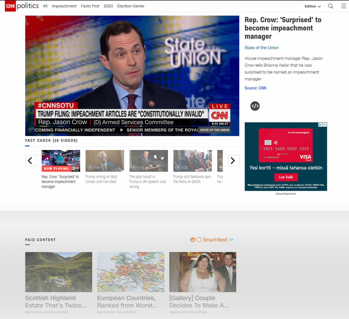 "Jason Crow CNN:n ""State of the Union"" -ohjelmassa"