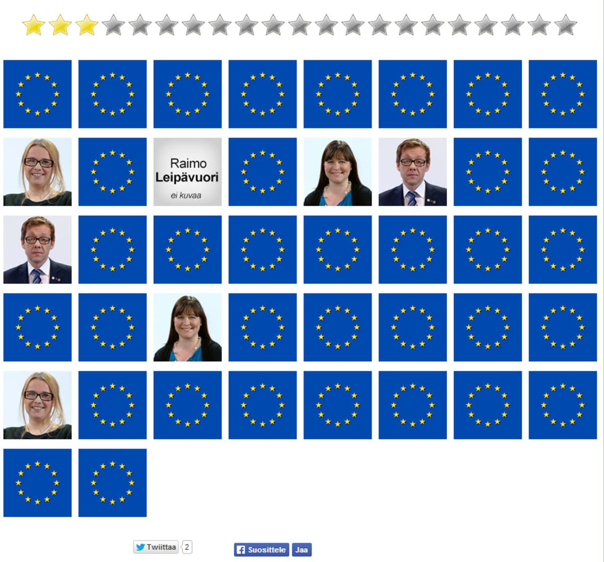 Kuvakaappaus EU-muistipelistä