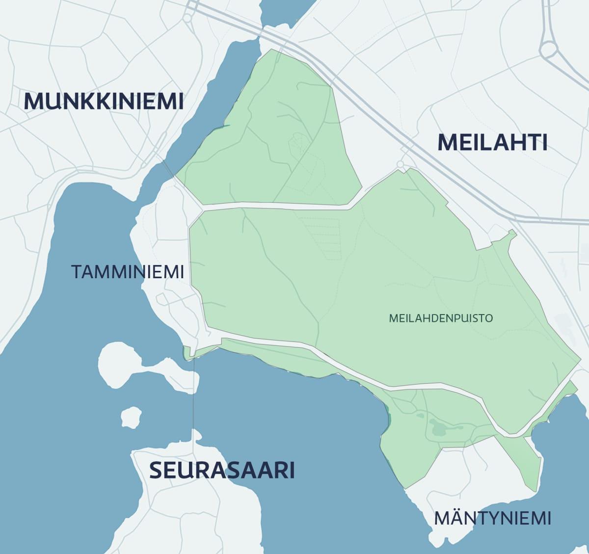 Kartta Meilahden alueesta.