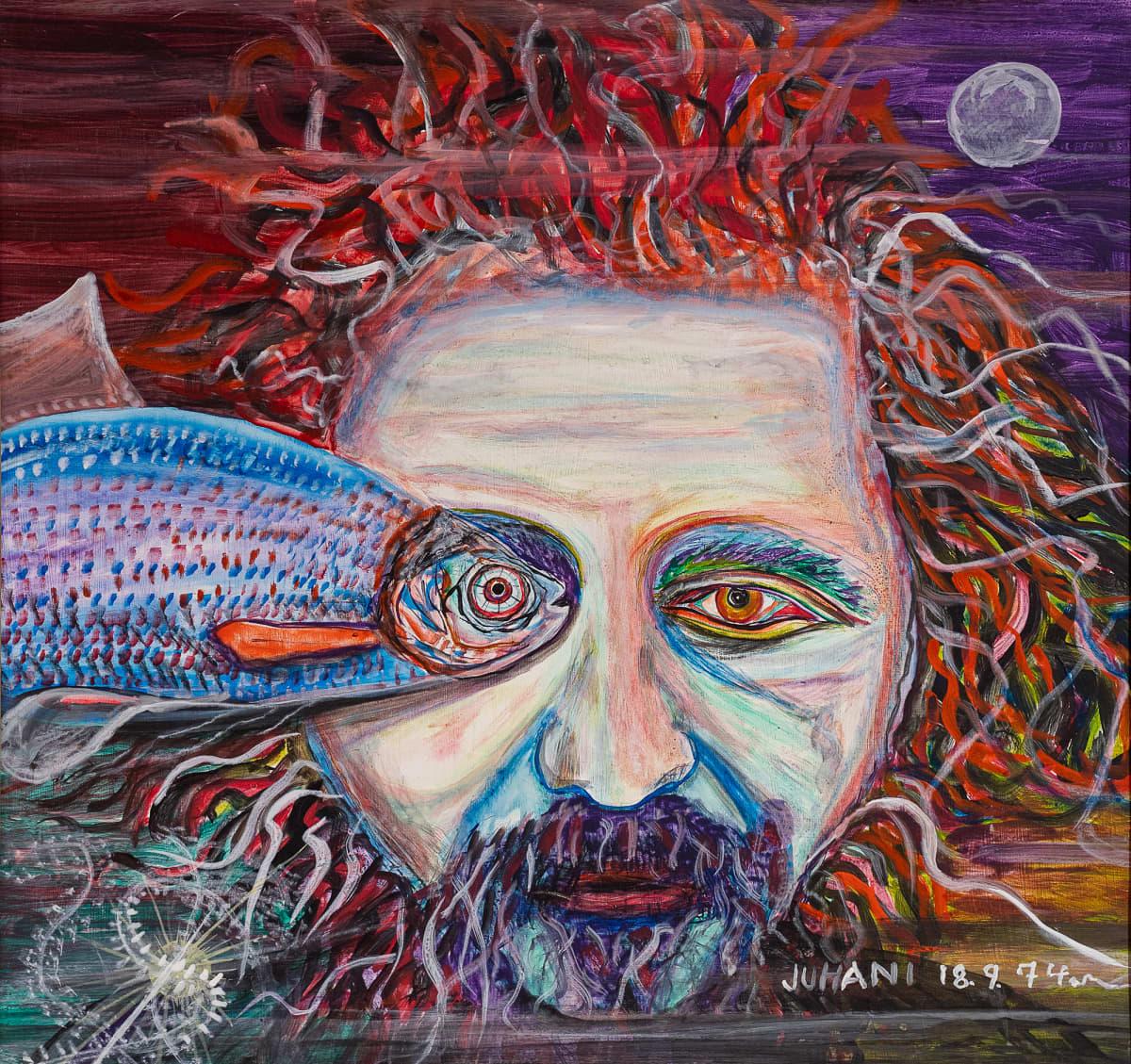 Taidemaalaus, jossa miehen kasvot ja kala, joka ui juuri toisen miehen silmän kohdalla niin, että kalan silmä on miehen silmän tilalla.