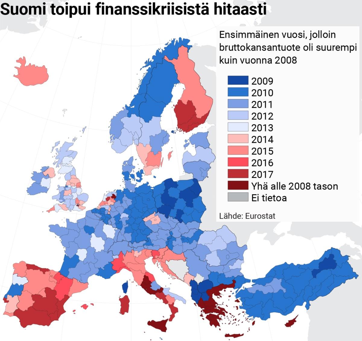 Infokartta eurokriisistä toipumisesta.