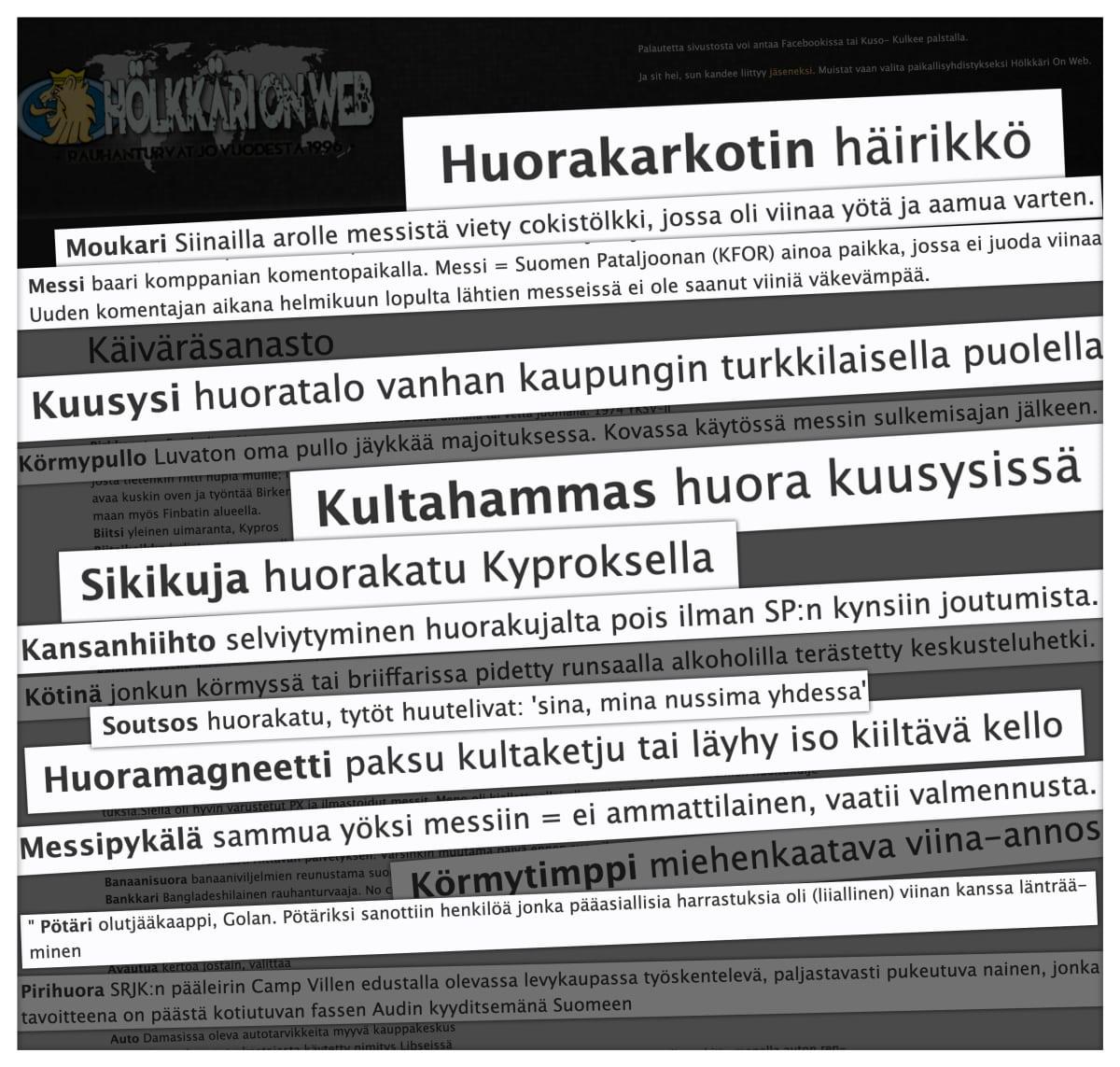 """Otteita Suomen Rauhanturvaajaliiton jäsenyhdistys Hölkkäri On Webin verkkosivuillaan julkaisemasta rauhanturvaajille suunnatusta """"sanastosta""""."""