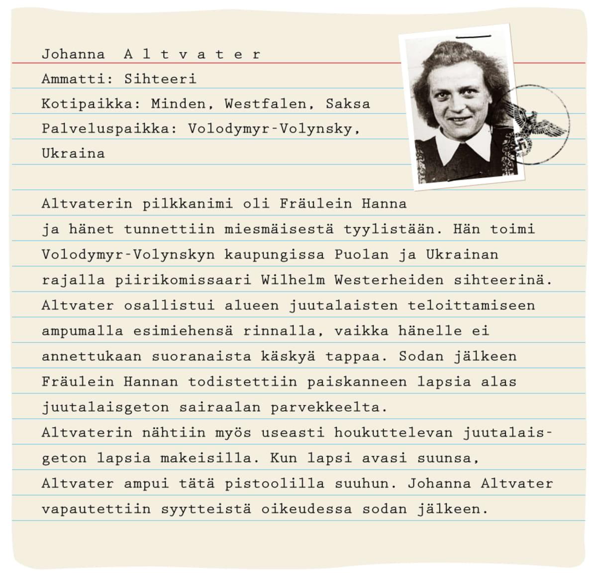 Henkilökortti: Johanna Altvater, sihteeri. Kotipaikka Miden, Westfalen. Palveluspaikka Volodymyr-Volynsky, Ukraina.