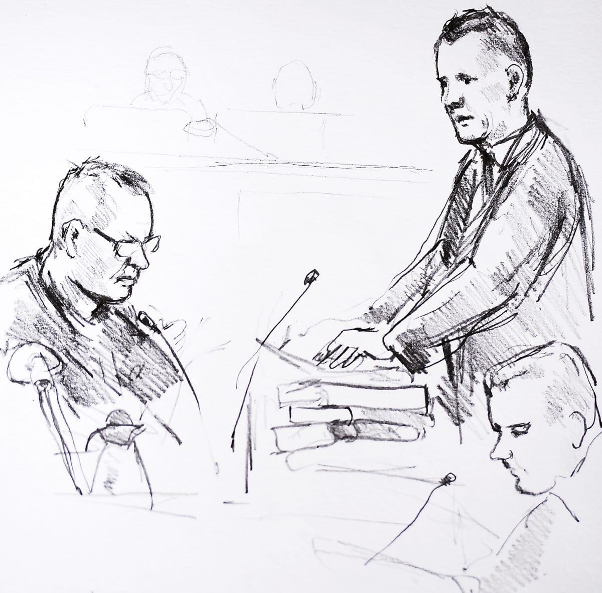 Peter Madsenin oikeudenkäynti Kööpenhaminassa, piirroskuva.