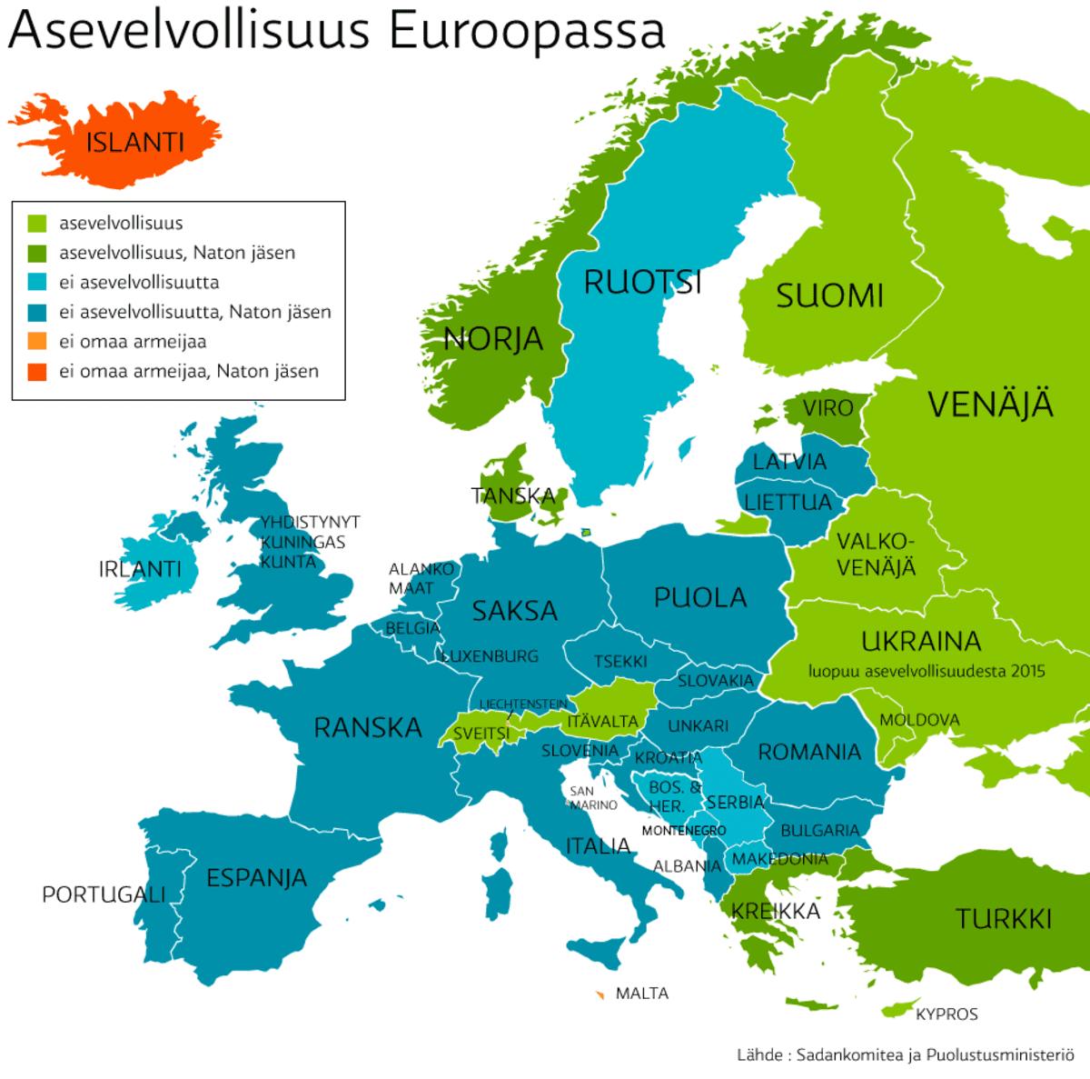 Suuri osa Euroopan maista on luopunut asevelvollisuudesta ja kuuluu sotilasliitto NATOon.