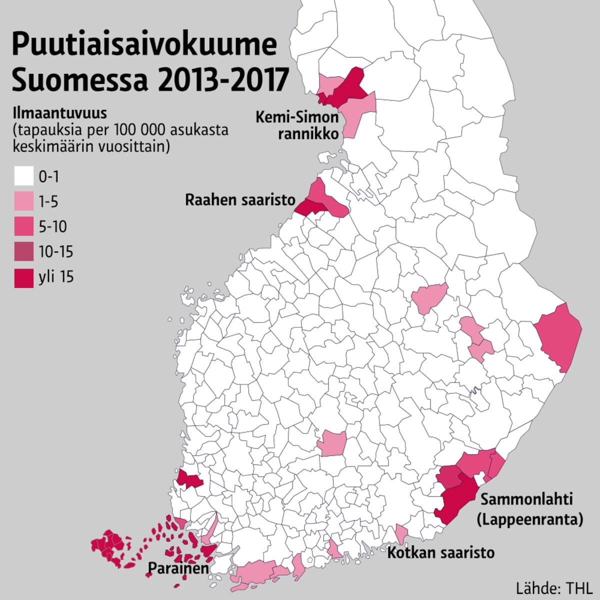 Puutiaisaivokuume Suomessa 2013-2017 -grafiikka.