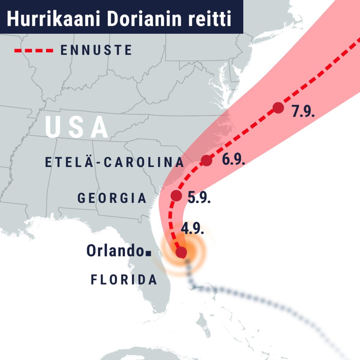 Hurrikaani Dorianin reitti
