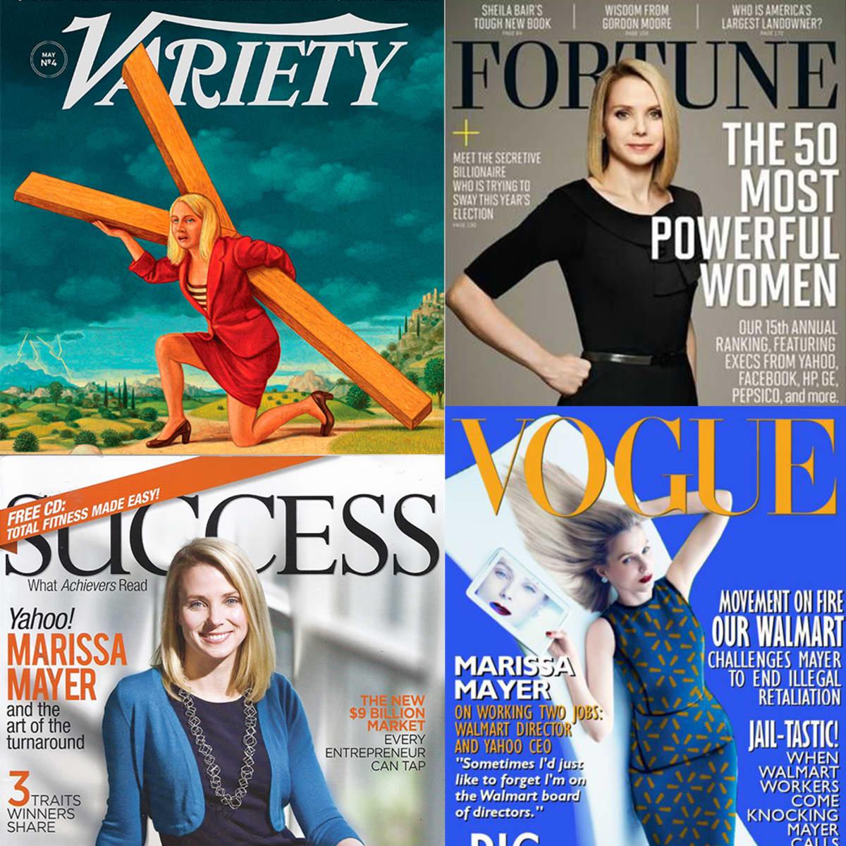 Variety-, Fortune-, Success- ja Vogue-lehden kansikuvia.