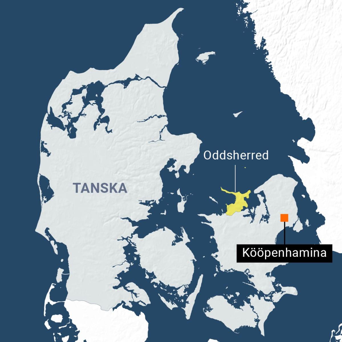 Oddsherred merkittynä Tanskan kartalle.