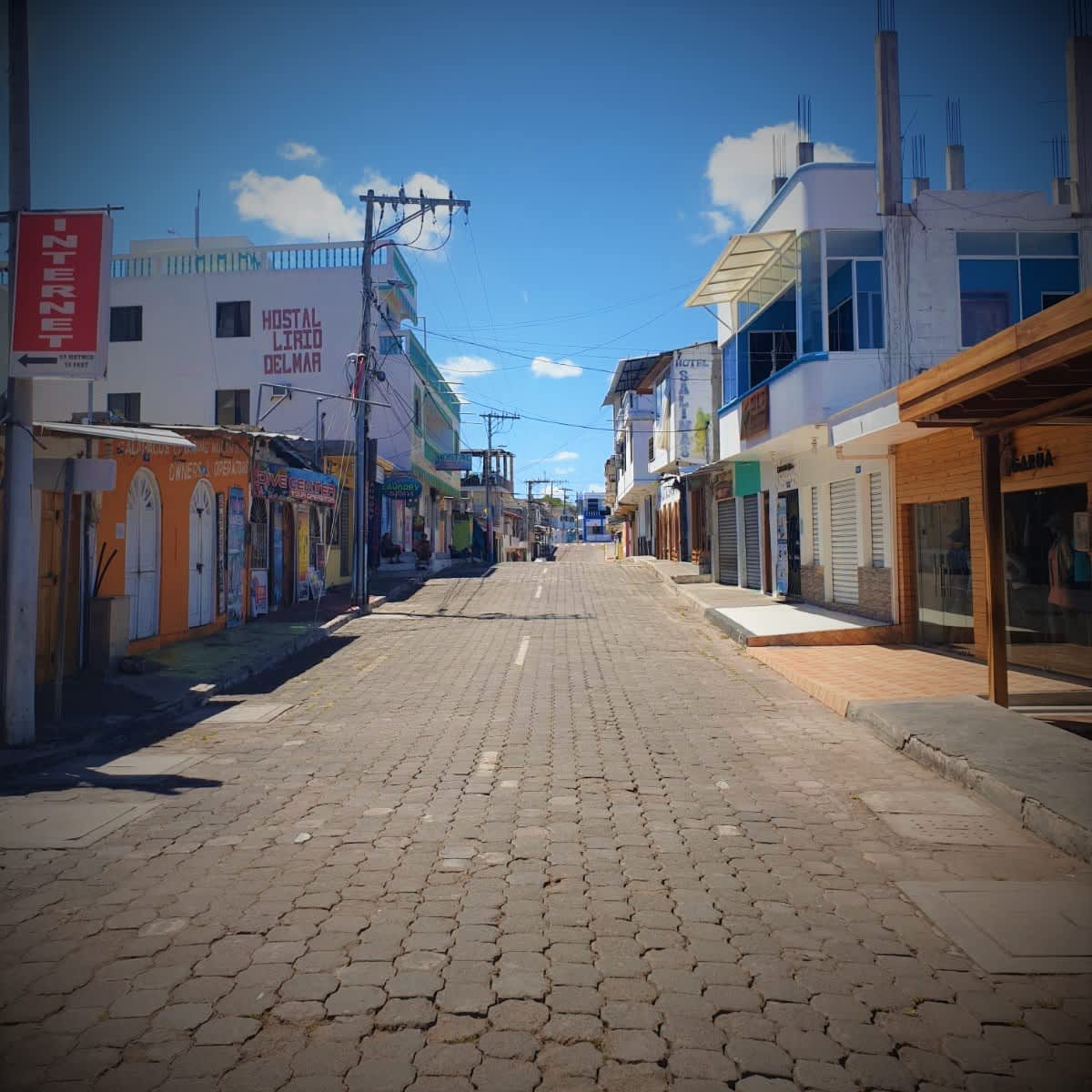 Maisema Galapagossaariin kuuluvan Santa Cruzin kadulta.