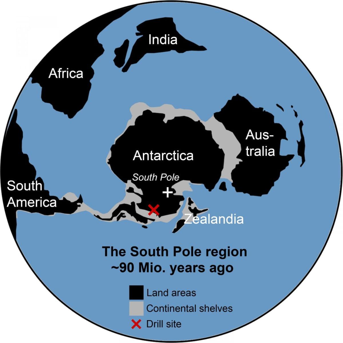 Kartta, jonka keskellä on Etelämanner ja laidoilla näkyvät myös Australia, Intia ja osa Afrikkaa ja Etelä-Amerikkaa sellaisina kuin ne olivat 90 miljoonaa vuotta sitten.