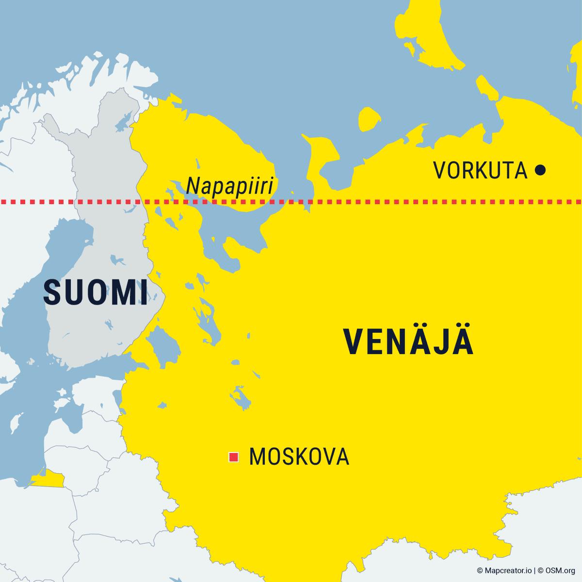 Kartta, joka kuvaa Vorkutan sijainnin Napapiirin pohjoisella puolella Venäjällä.