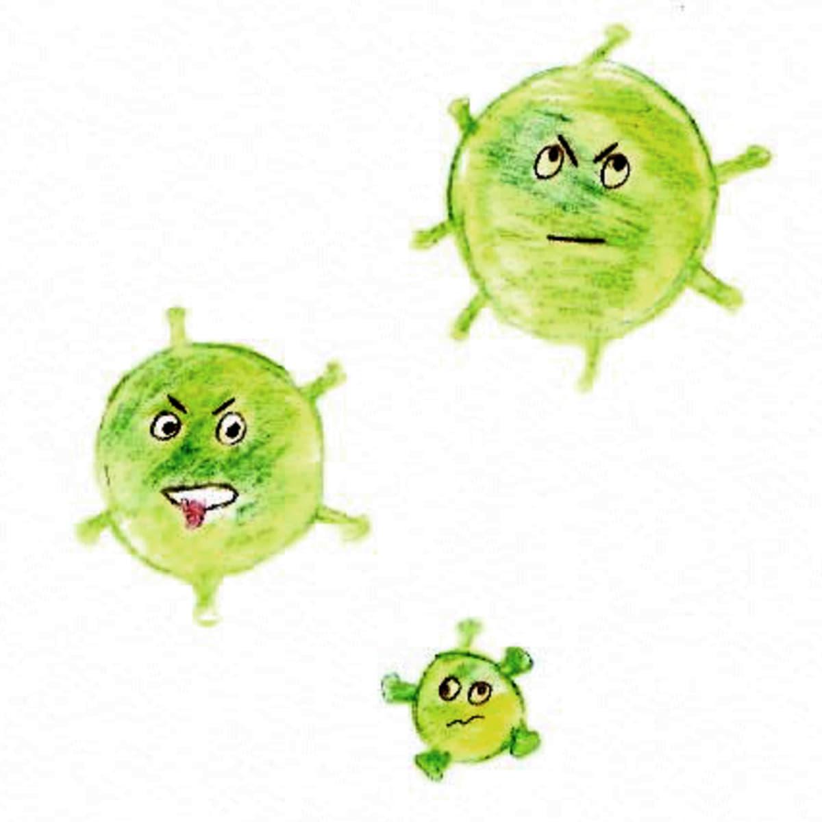Kolme vihreätä ympyrää, joille on piirretty yrmeät kasvot ja sakaroita kuin korona-viruksella.