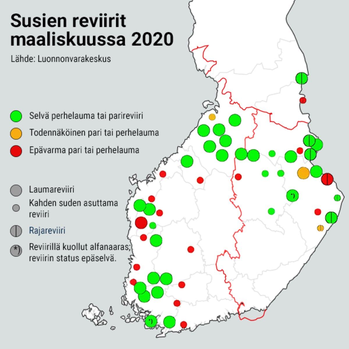 Susien reviirit kartalla maaliskuussa 2020.
