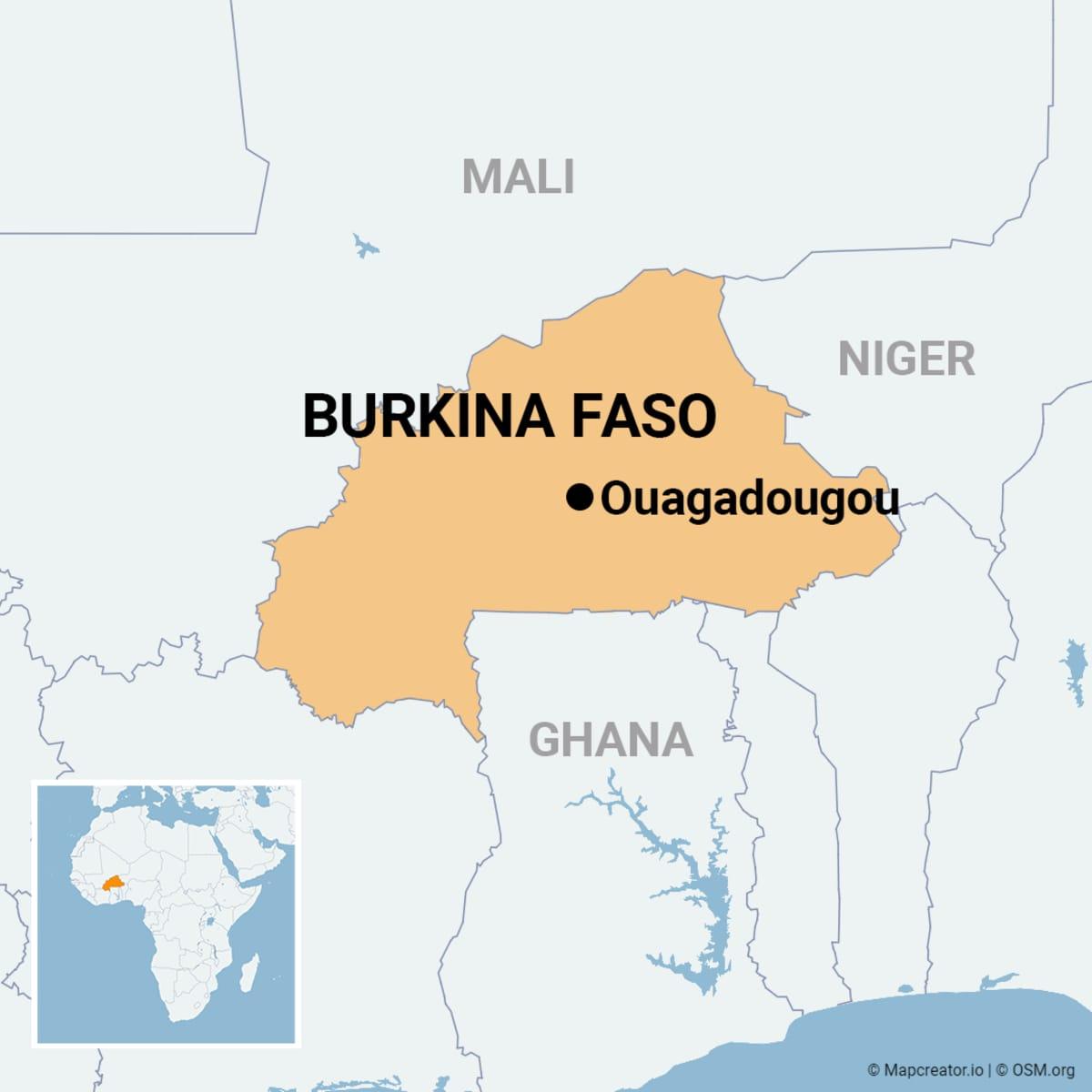 Kartta, johon merkitty Burkina Fason ja sen pääkaupunki Ouagadougoun sijainnit.
