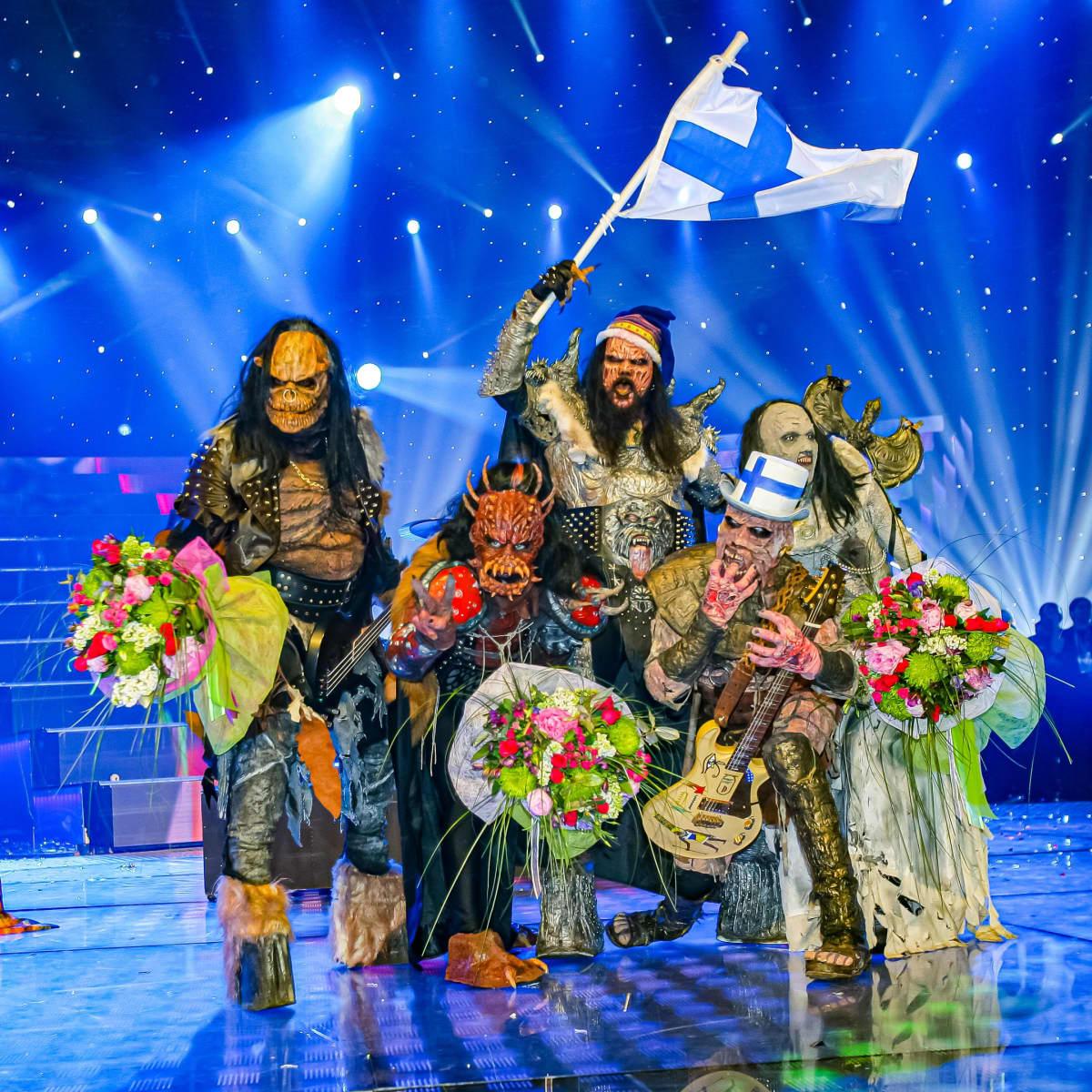 Lordi juhlii Euroviisujen voittoa Ateenassa toukokuussa 2006.