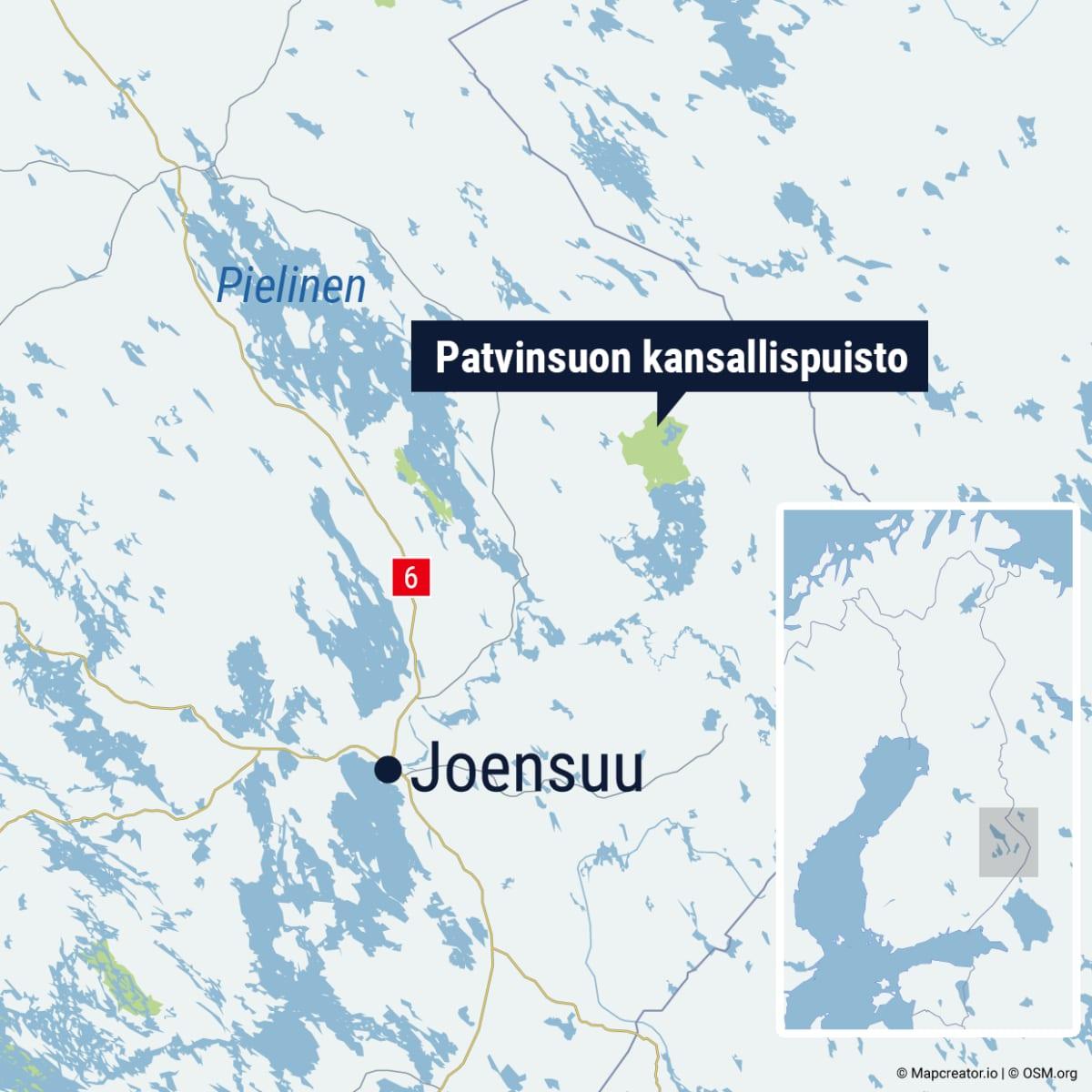 Patvinsuon kansallispuisto sijaitsee Pohjois-Karjalassa.
