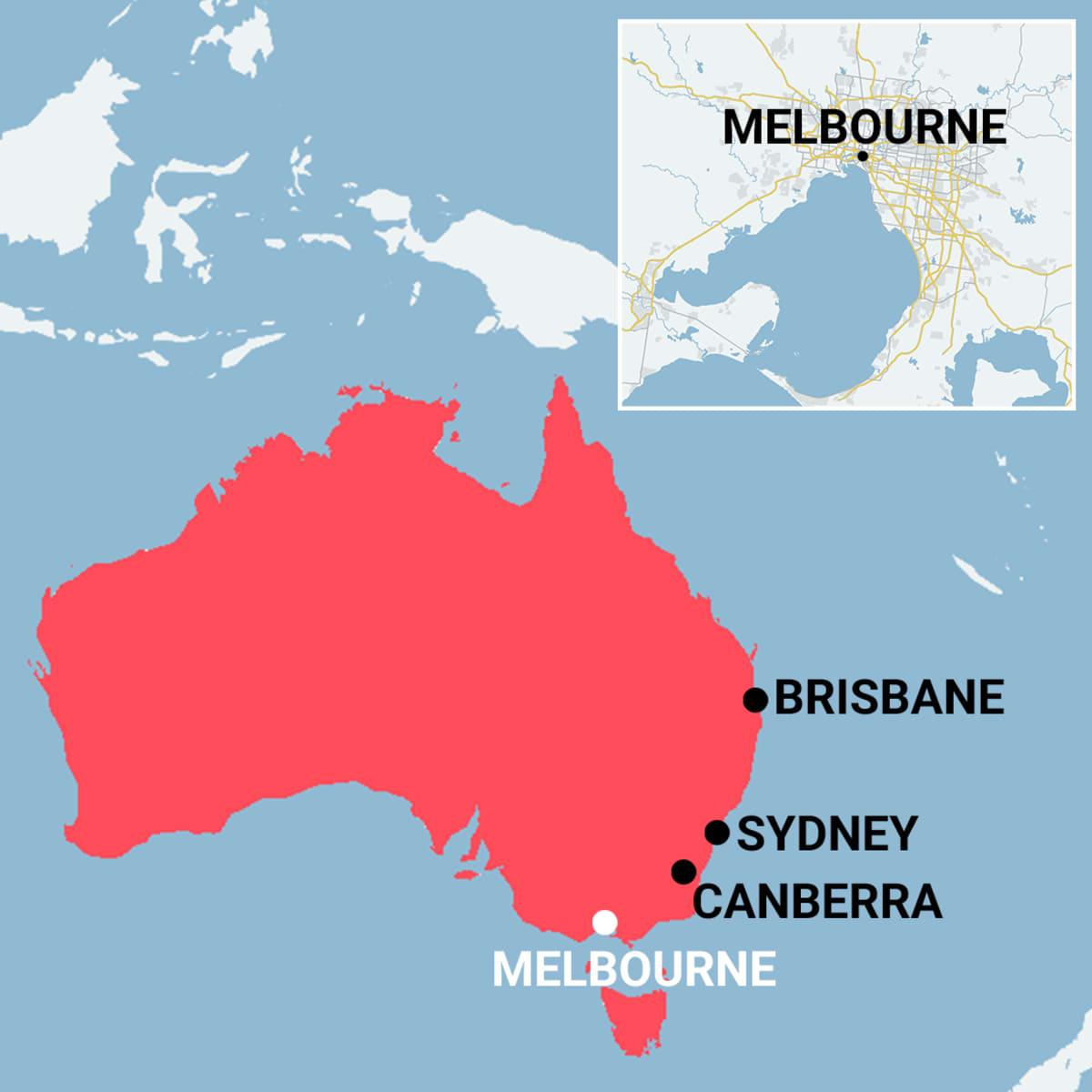 Kartta, joka näyttää Australian kokonaisuudessaan. Karttaan merkitty Australian kaupungeista Brisbane, Sydney, Canberra ja Melbourne.