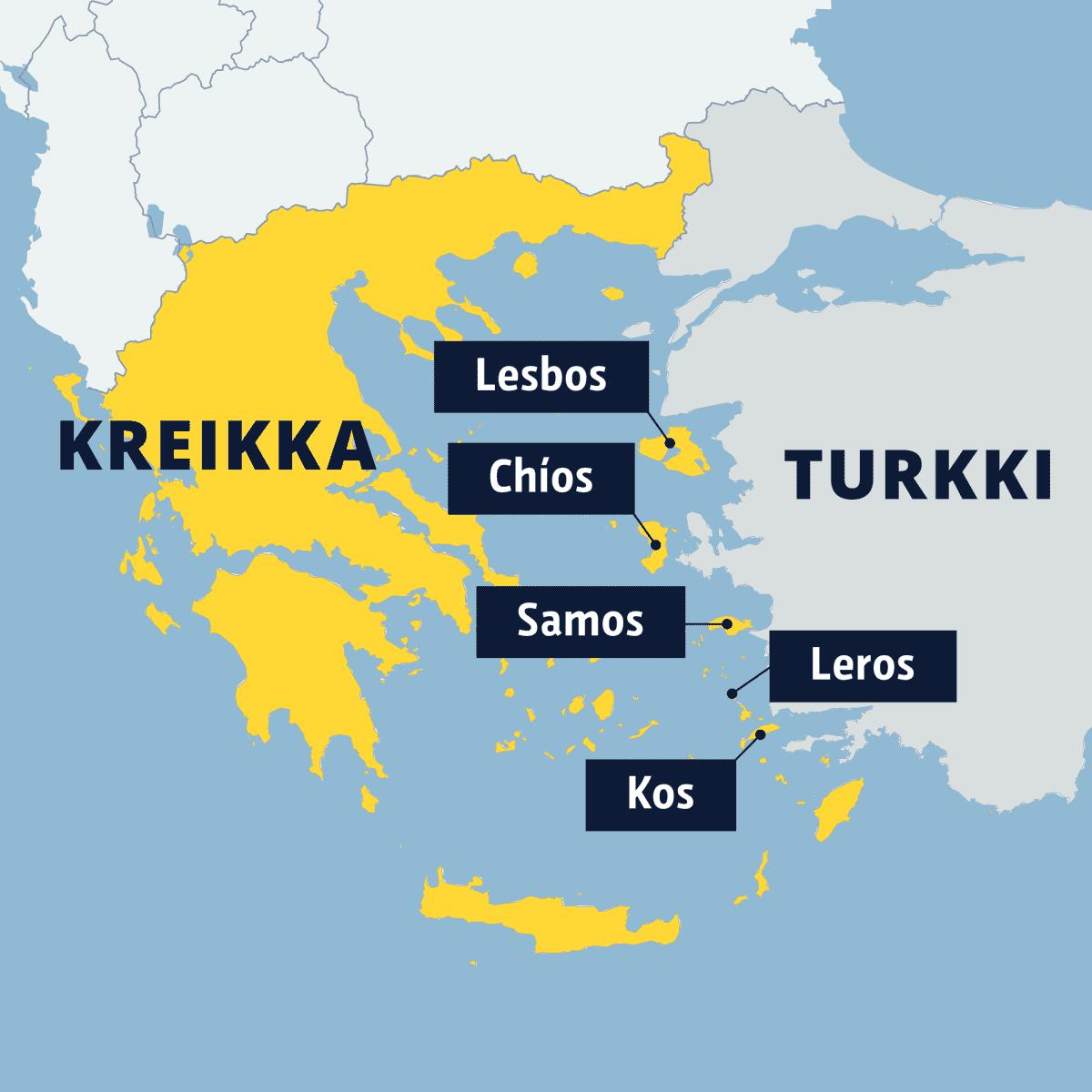 Turkin rannikon tuntumassa sijaitsevat Kreikan Lesbos-, Chíos-, Samos-, Leros- ja Kos-saaret kartalla.