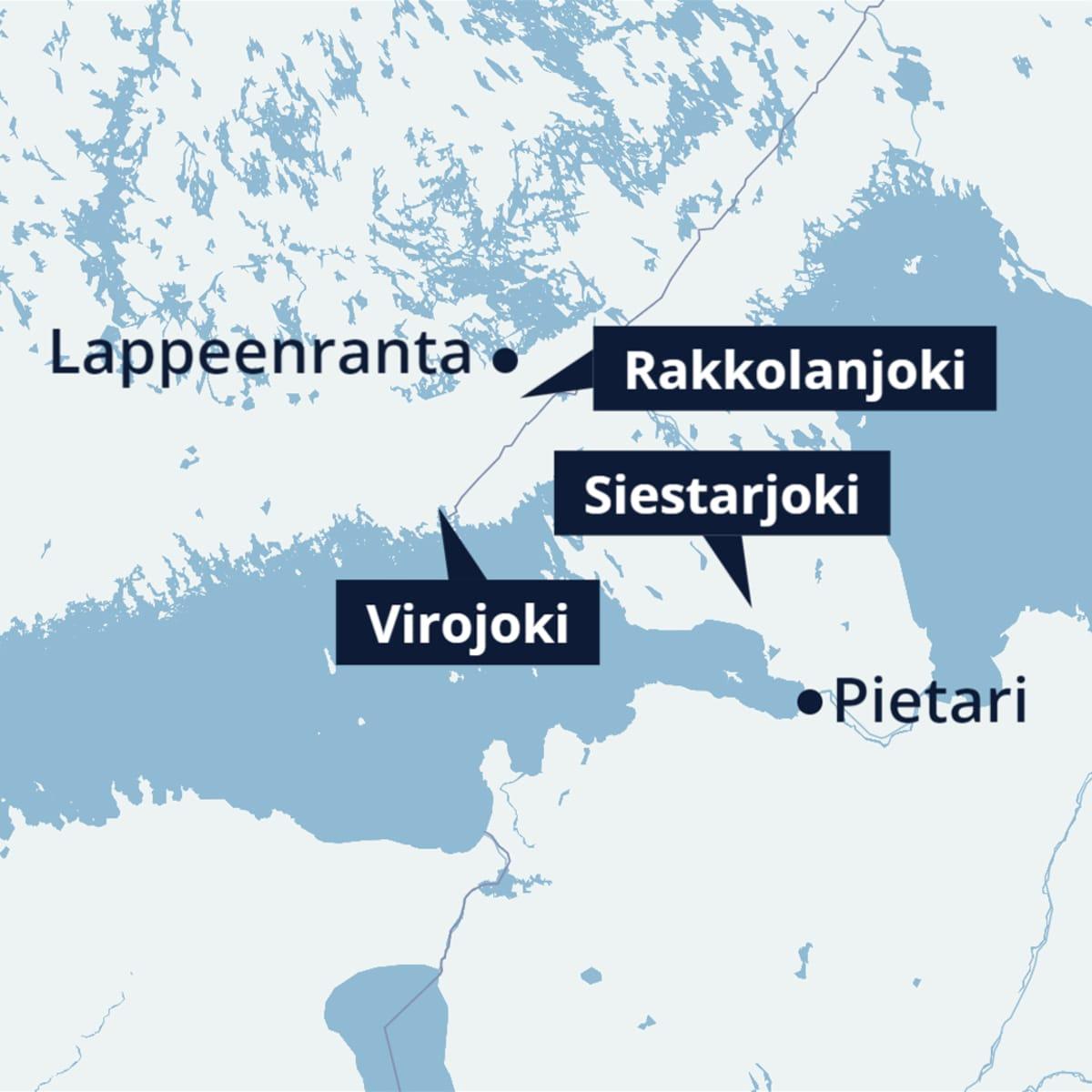 Kolme Suomen ja Venäjän rajan läheisyydessä virtaavaa jokea