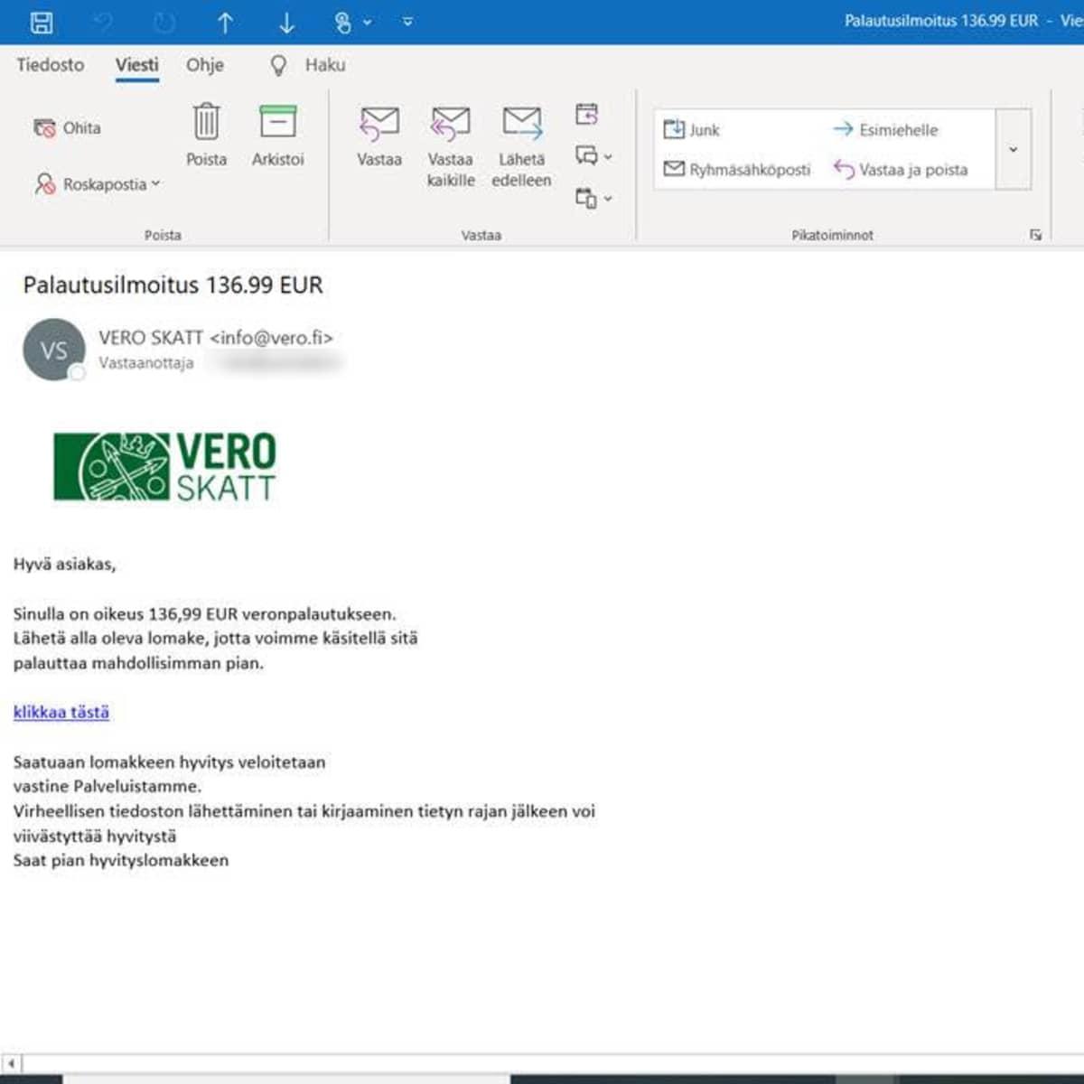 Verottajan nimissä lähetetty huijaussähköposti