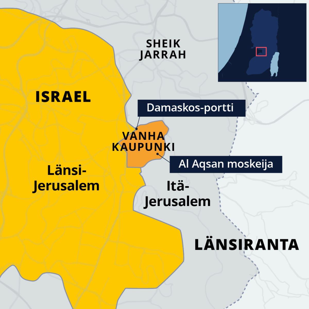 Kartta Jerusalemista.