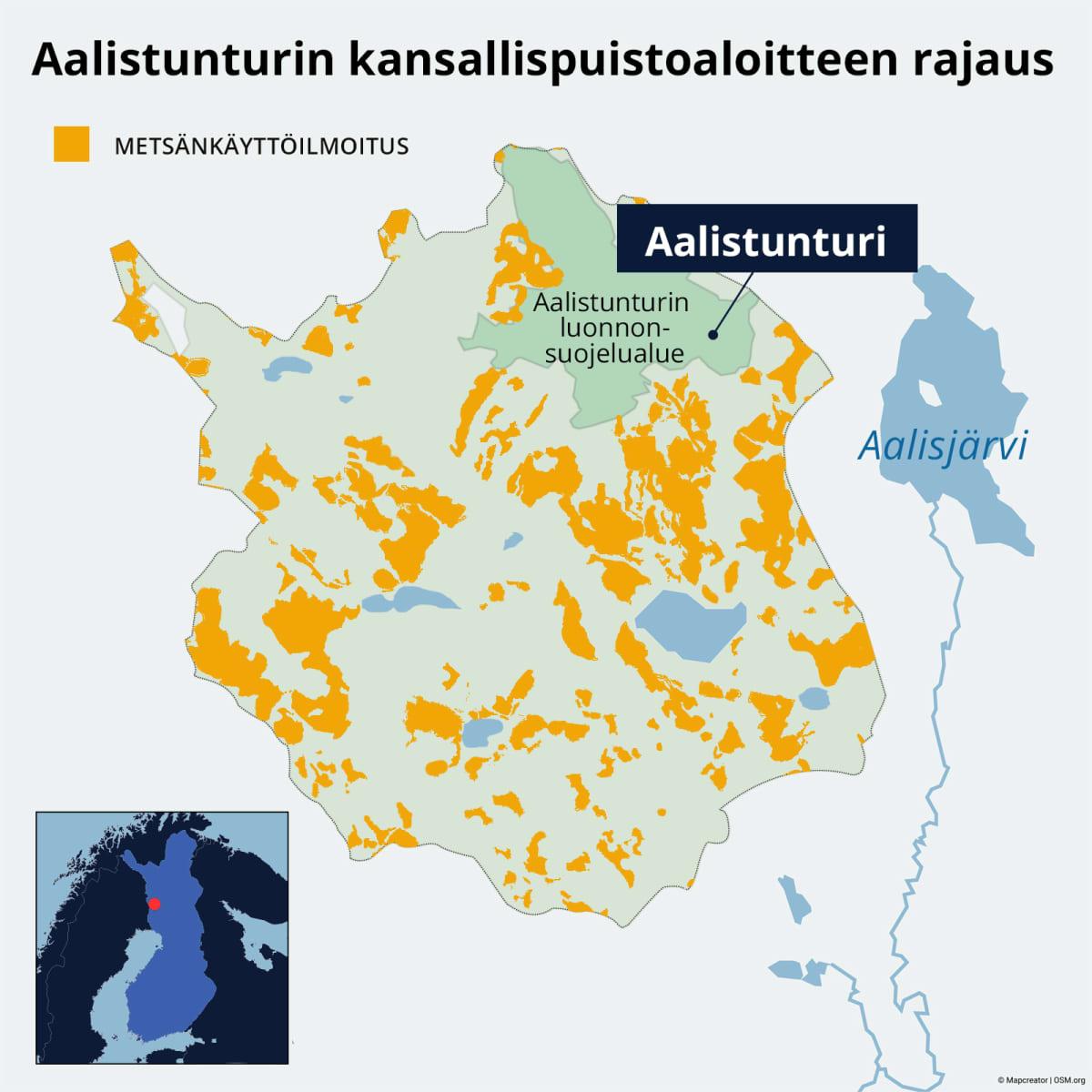 Aalistunturin kansallispuistoaloitteen rajaus ja metsänkäyttö.