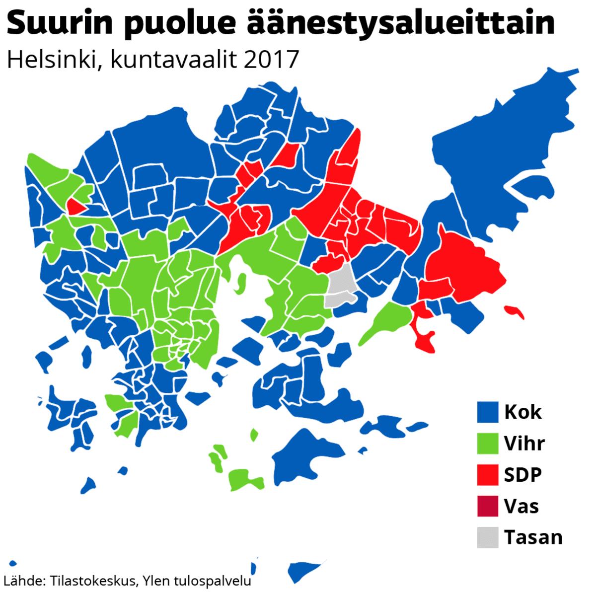 Suurin puolue äänestysalueittain Helsingissä, kuntavaalit 2017, grafiikka