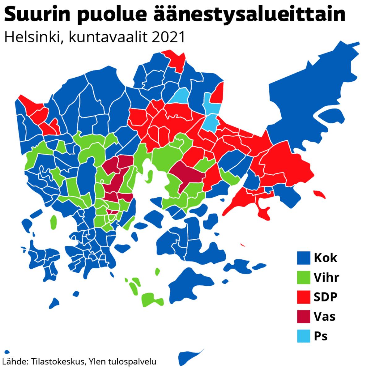 Suurin puolue äänestysalueittain Helsingissä, kuntavaalit 2021