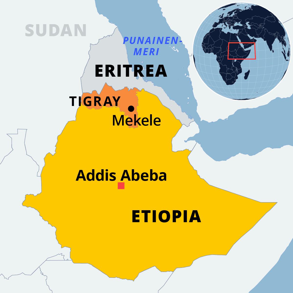 Kartalla Etiopian pohjoisosassa Tigrayn maakunta ja naapurimaa Eritrea.