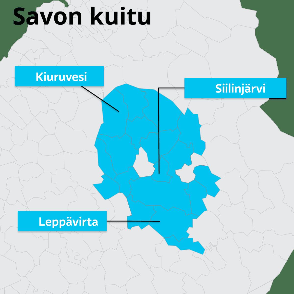Kartta kunnista, jotka omistavat Savon kuitu-yhtiön.