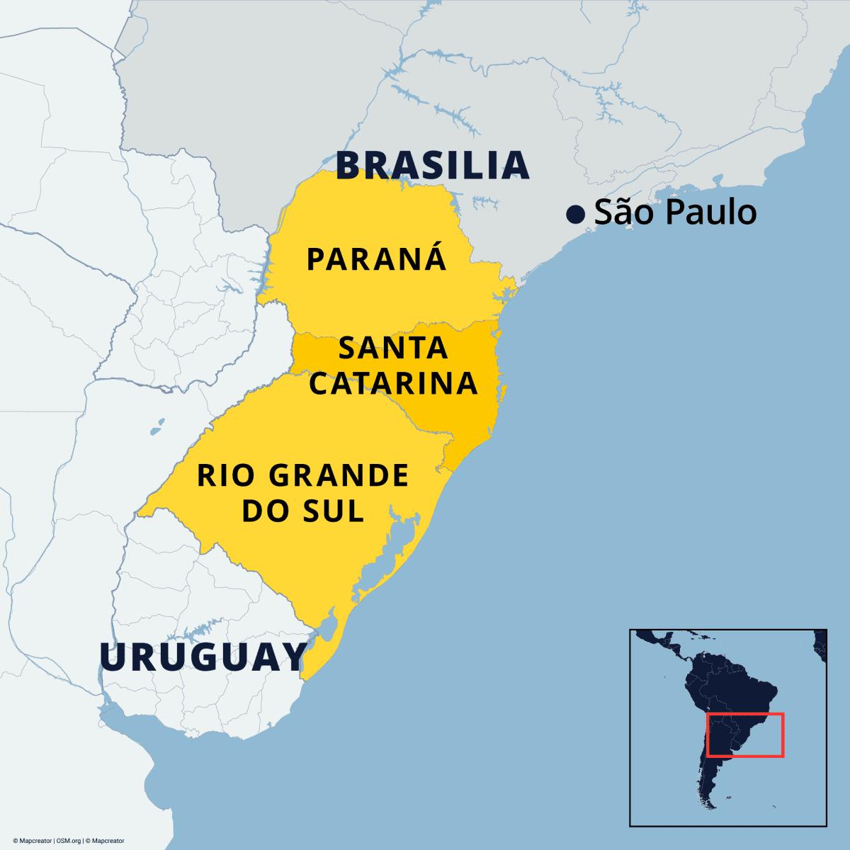 Kartta jossa näkyvät eteläisen Brasilian osavaltiot, joissa on satanut lunta: Paraná, Santa Catarina ja Rio Grande Do Sul.