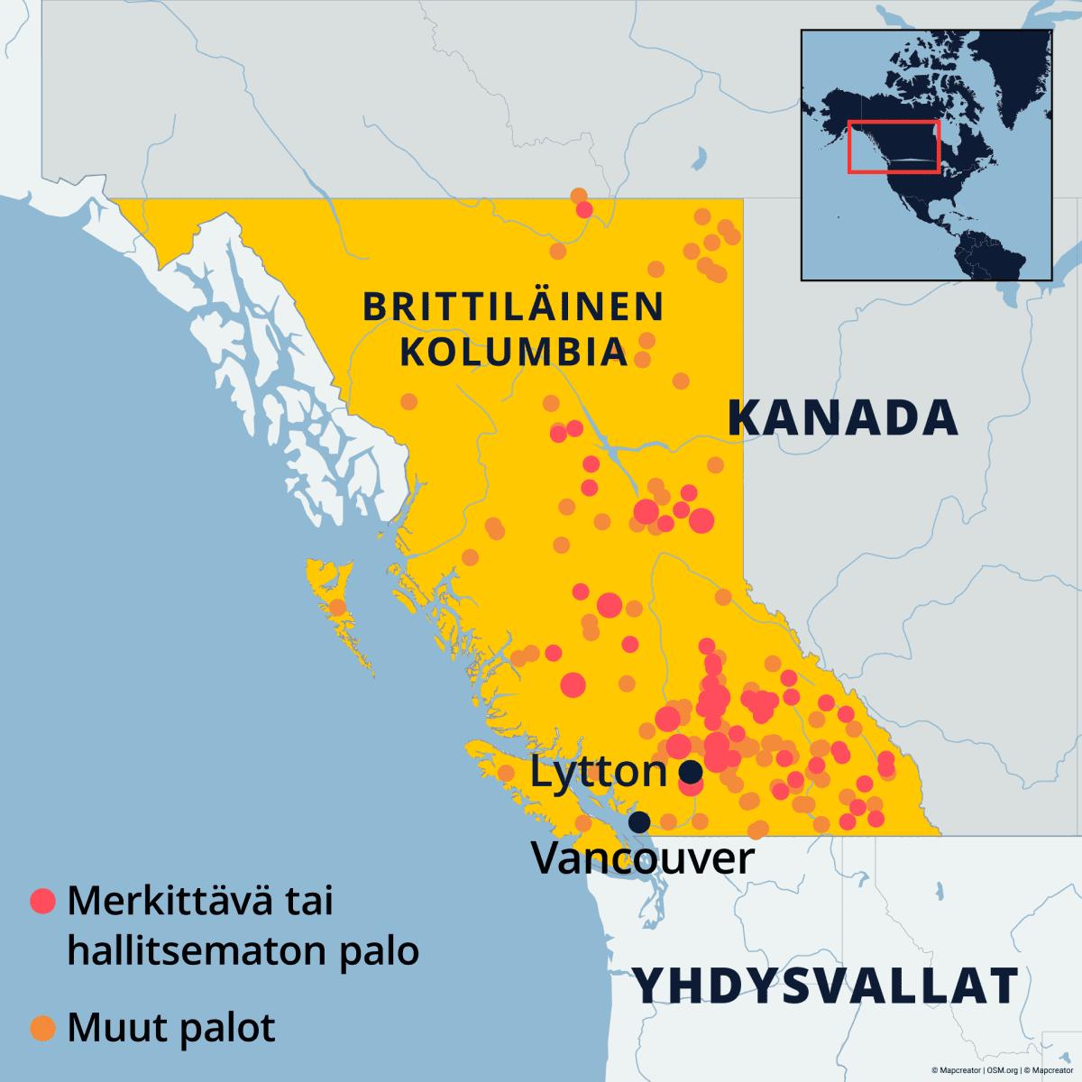 Kartta jossa näkyvät Kanadan Brittiläisen Kolumbian maastopalot.