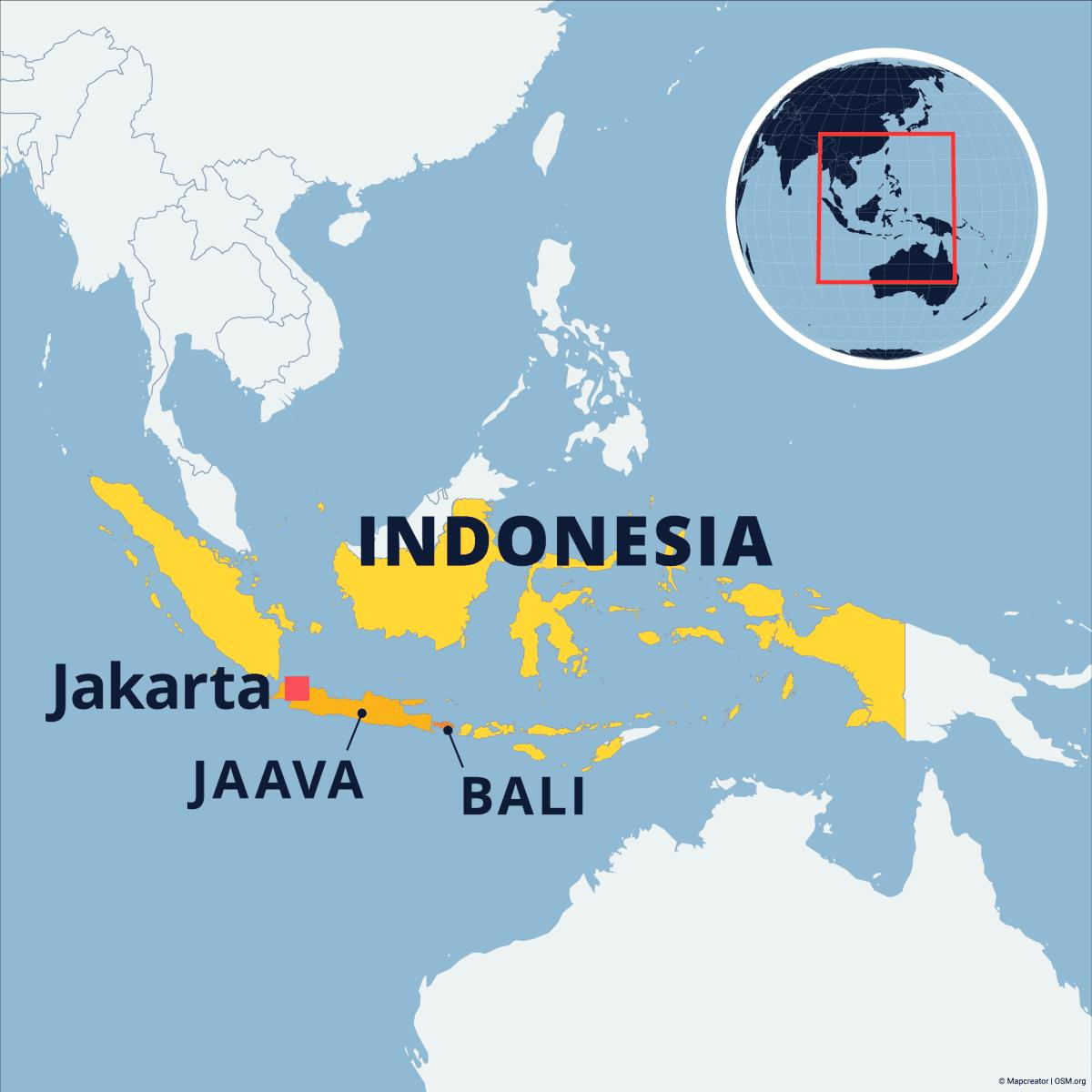 Kaakkois-Aasiassa sijaitsevan Indonesian kartta, johon on merkitty pääkaupunki Jakarta sekä saaret Jaava ja Bali.