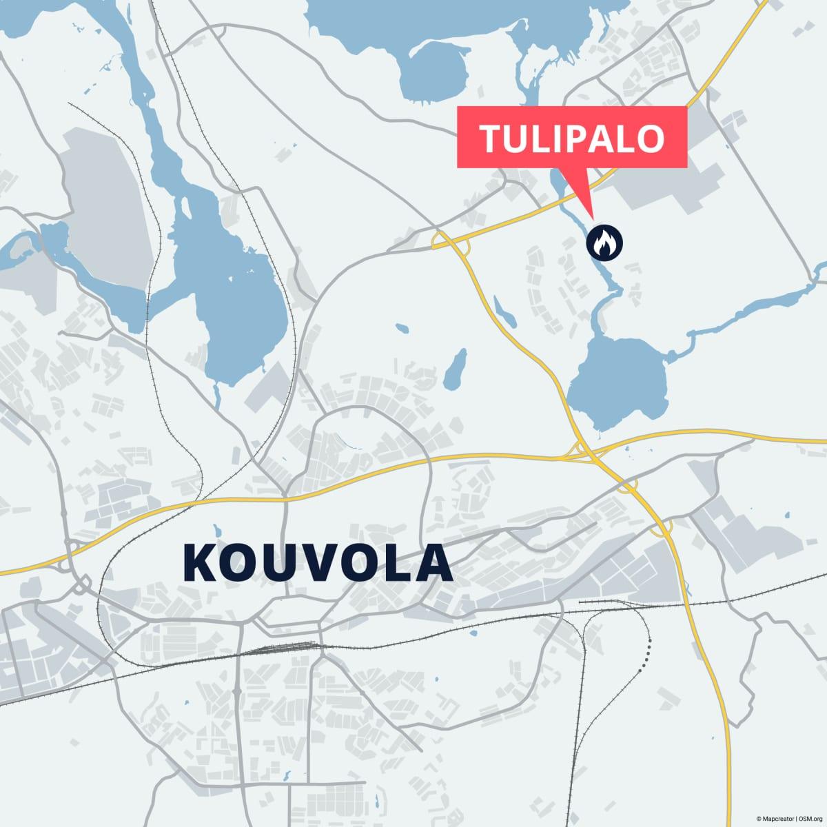 Kartassa Kouvolan kartta ja tulipalon paikka osoitteessa Sairaalantie 7.