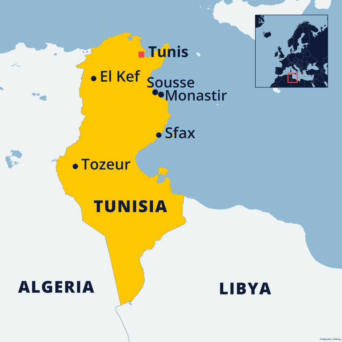 Tunisian kartta, johon merkitty pääkaupunki Tunis, sekä muista kaupungeista El Kef, Sousse, Monastir, Tozeur ja Sfax.