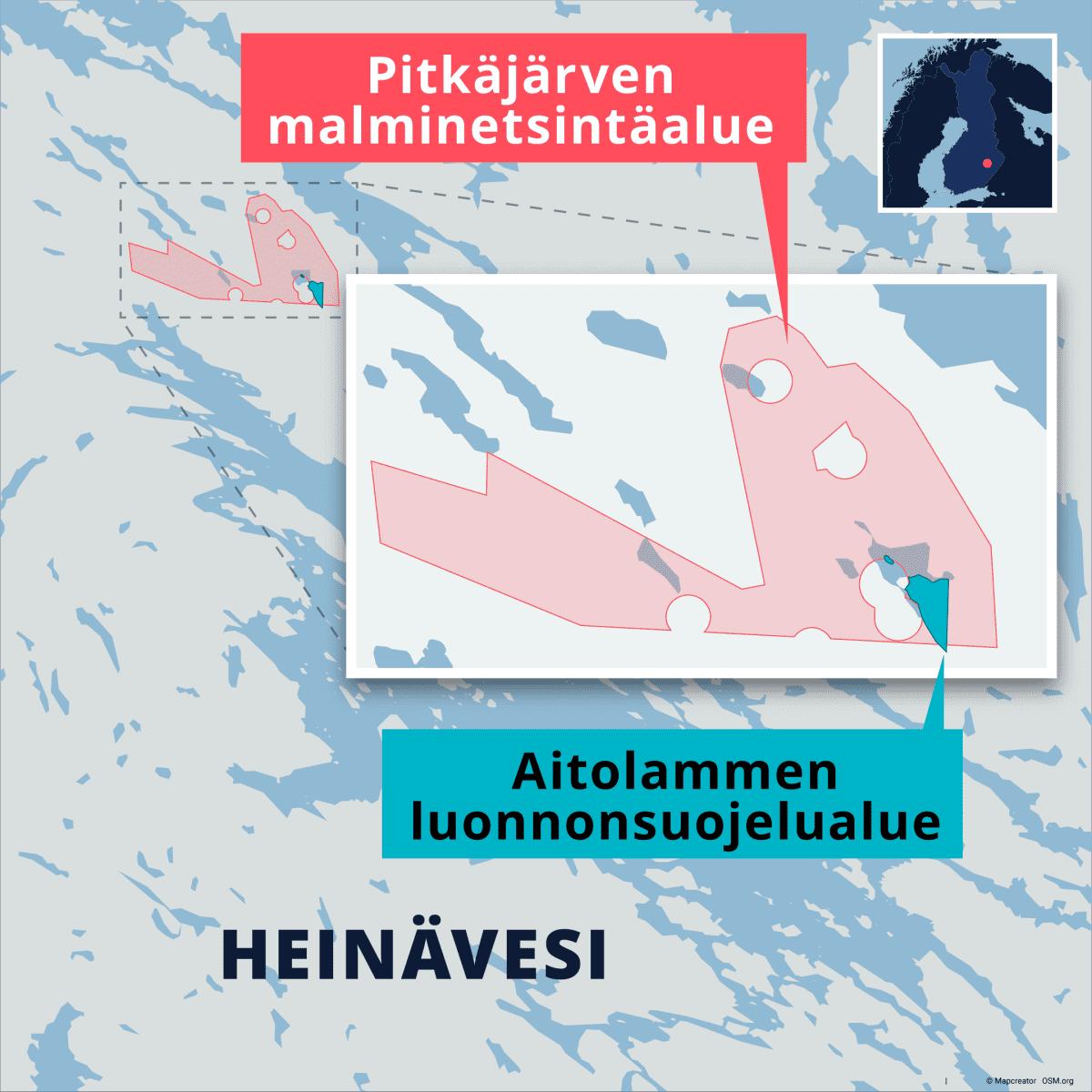 Kartta Pitkäjärven malminetsintäalueen ja Aitolammen luonnonsuojelualueen sijainnista Pohjois-Karjalan länsirajalla. Lähde: Tukes, Maanmittauslaitos / Etelä-Savon ely-keskus.