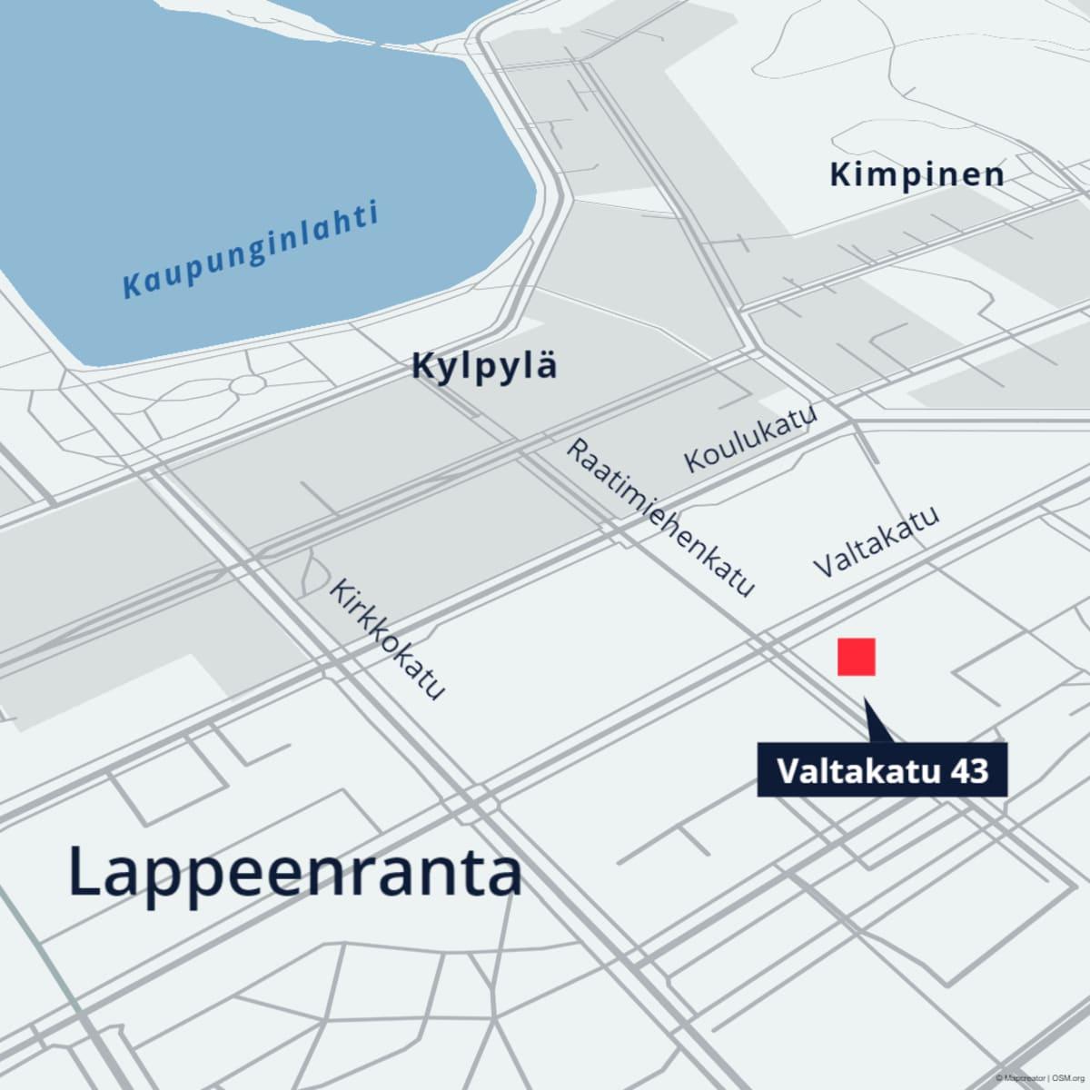 Kartta Valtakatu 43:n sijainnista Lappeenrannassa