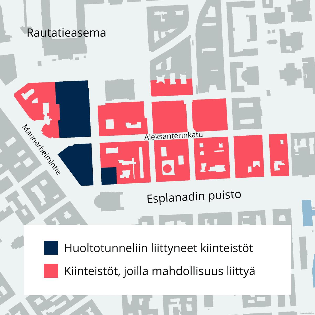 Karttakuva, jossa Aleksanterin kadun ympäristön kiinteistöistä vain pieni osa on merkattu sinisellä värillä, eli ne ovat liityneet huoltotunneliin. Suurin osa kiinteistöistä on punaisella, eli heillä olisi mahdollisuus liittyä, mutta ne eivät sitä ole tehneet.