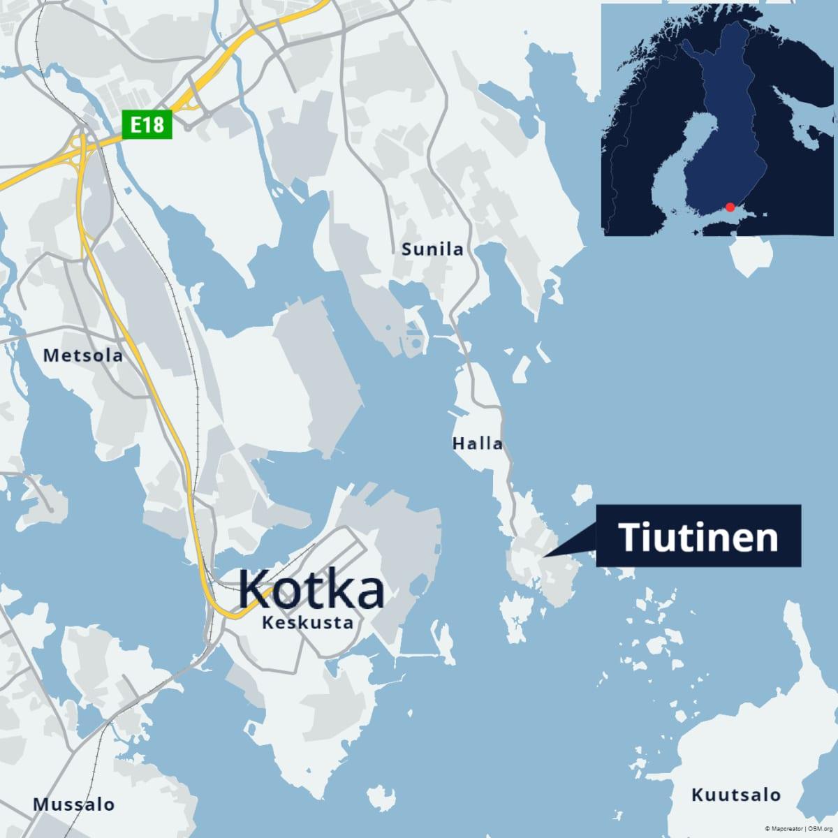 Kartta, joka näyttää Kotkan Tiutisen saaren. Saari sijaitsee Kotkansaaren eli Kotkan keskustan vieressä. Saareen kuljetaan tietä pitkin.
