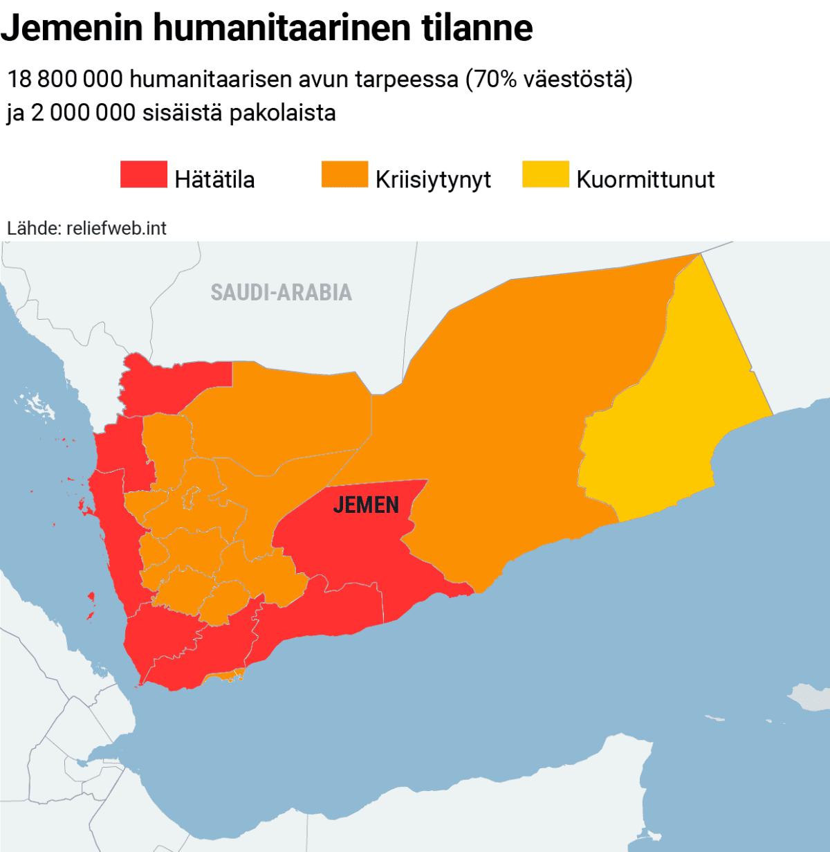 Kartta Jemenin humanitaarisesta tilanteesta.