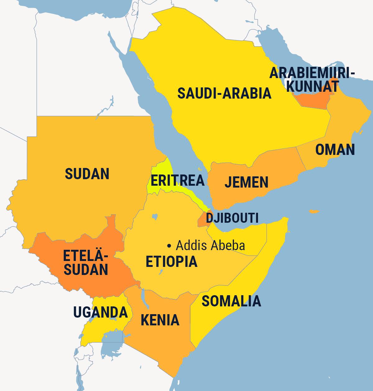 Kartta missä Etiopia ja ympäröiviä valtioita