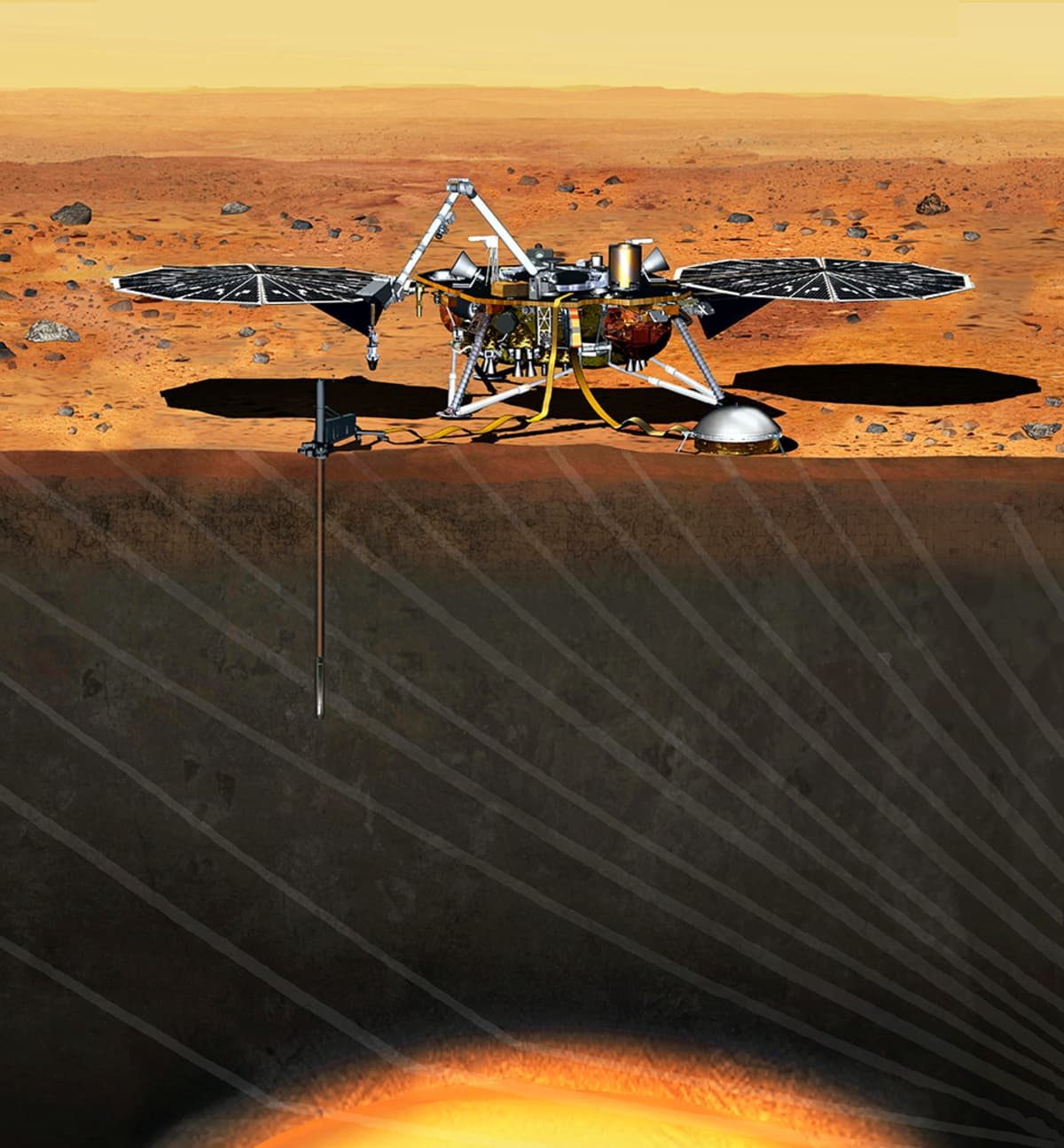 Havainnekuva InSight robotista Marsin pinnalla.