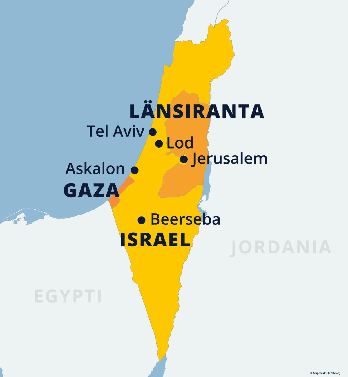 Kartalla Israel, Gaza ja Länsiranta