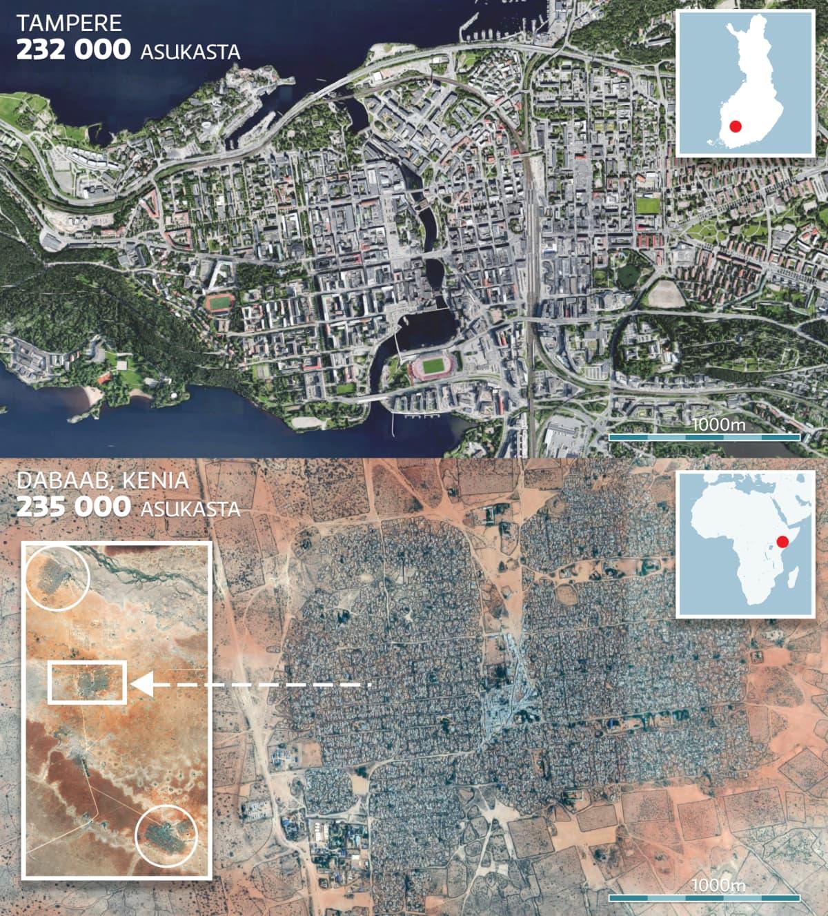 Kartta jossa vertaillaan Tampereen kaupunkia ja Zabaabin pakolaisleiriä.