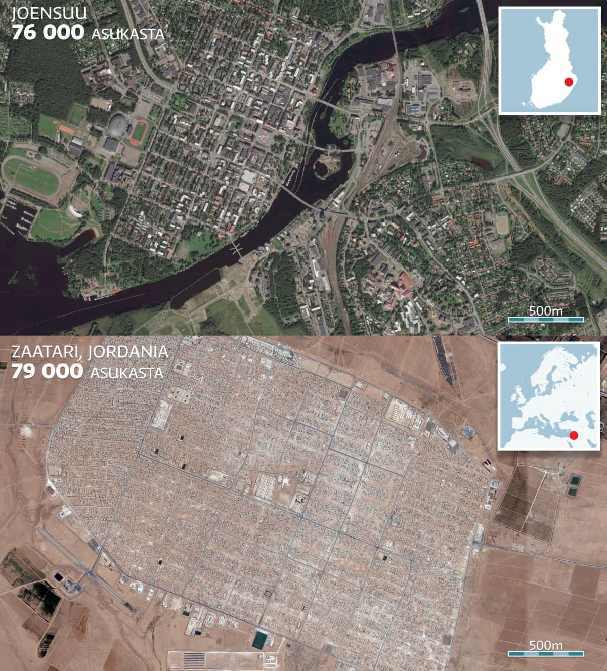 Kartta jossa vertaillaan Joensuun kaupunkia ja Zaatarin pakolaisleiriä.