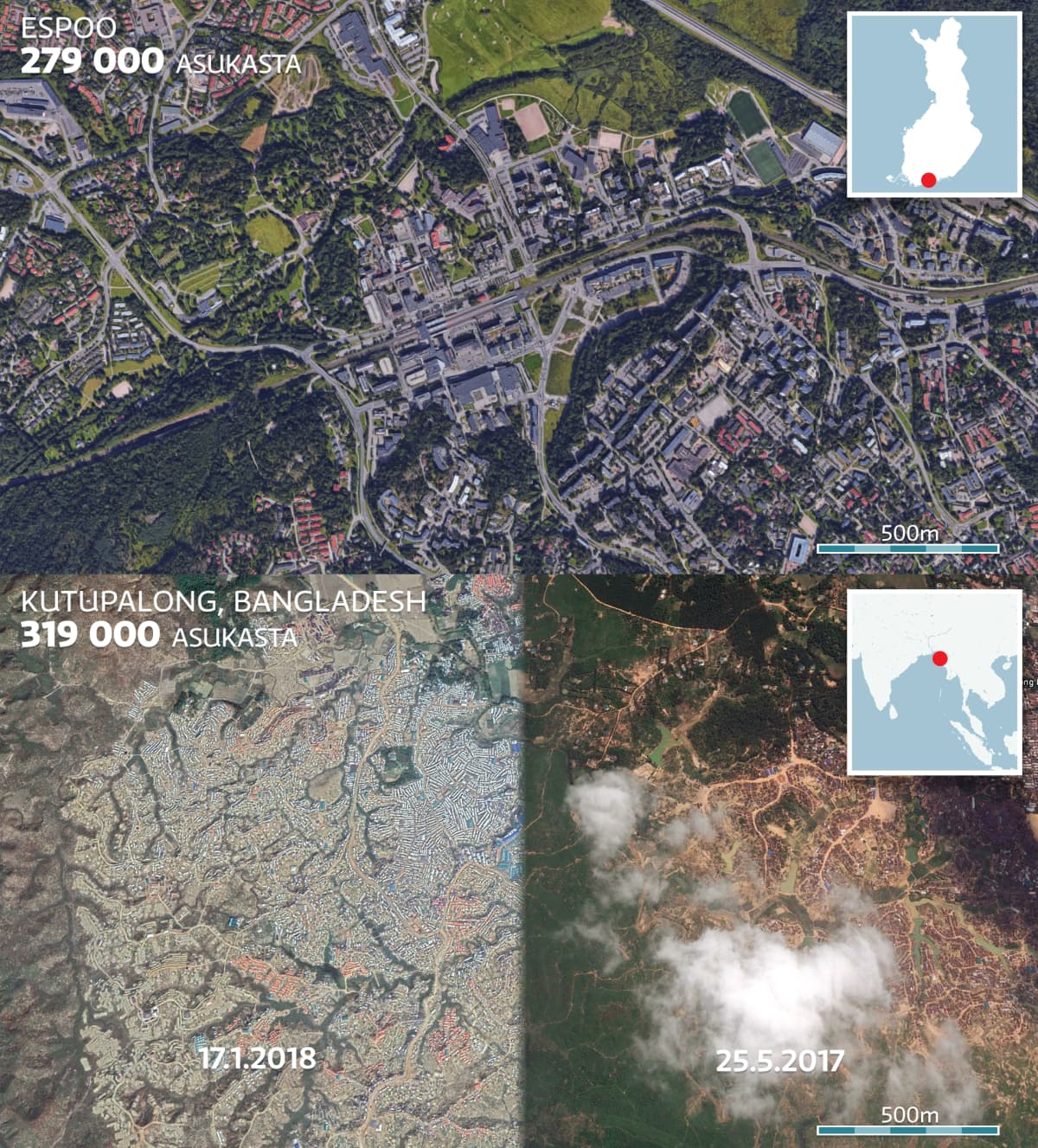 Kartta jossa vertaillaan Espoon kaupunkia ja Kutupalong pakolaisleiriä.